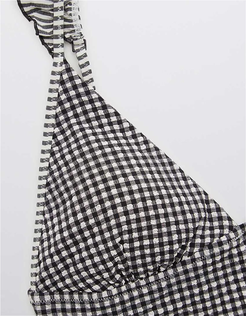 Aerie Seersucker Ruffle Longline Triangle Bikini Top Μαύρο 4
