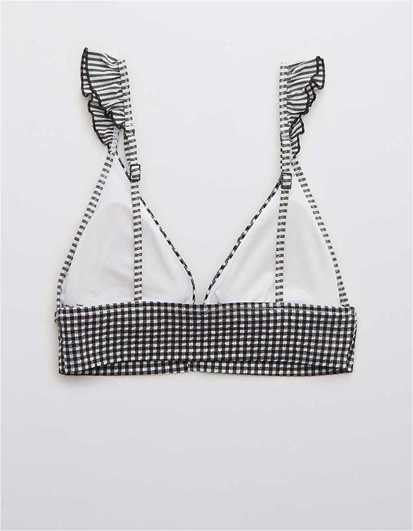 Aerie Seersucker Ruffle Longline Triangle Bikini Top Μαύρο 5