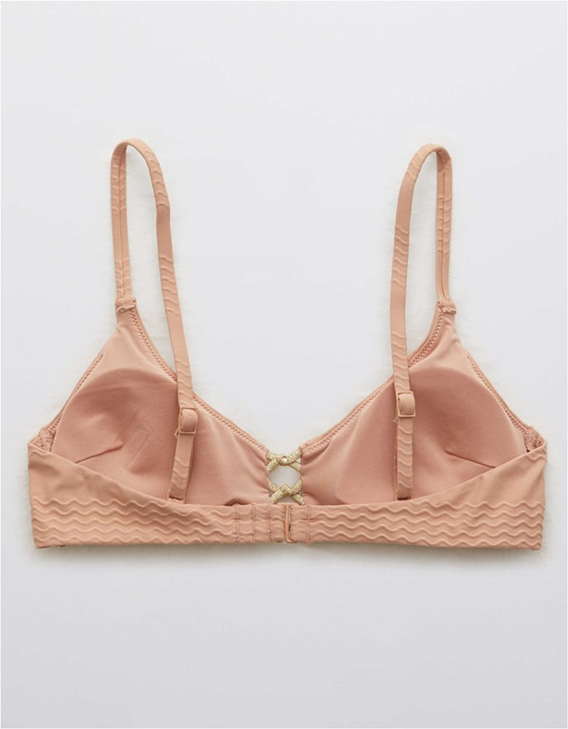 Aerie Jacquard Knot Front Scoop Bikini Top 1