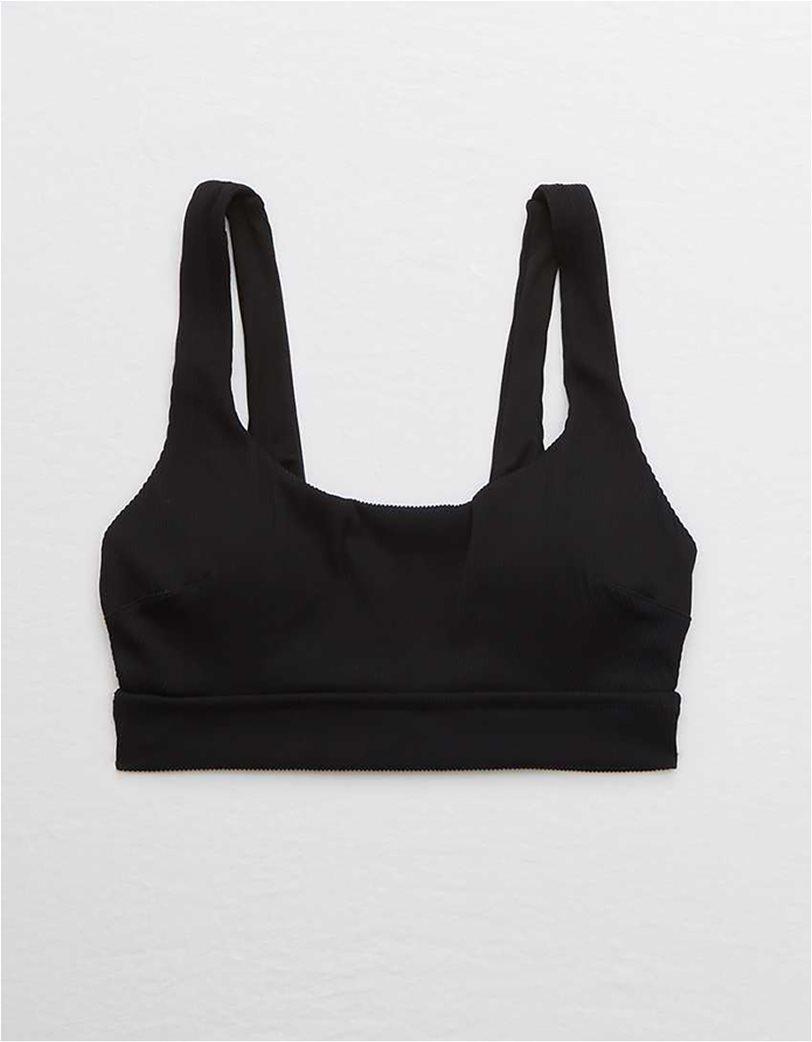 Aerie Ribbed Banded Wide Strap Scoop Bikini Top Μαύρο 2