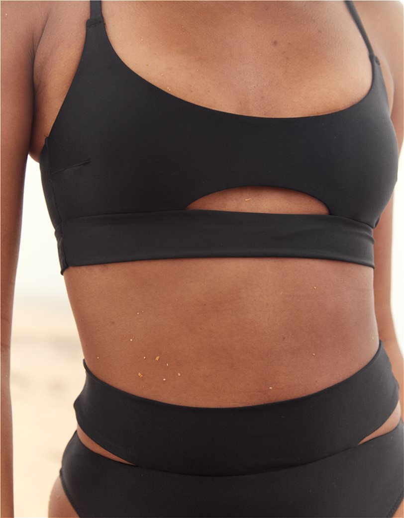 Aerie Split Scoop Bikini Top Μαύρο 1