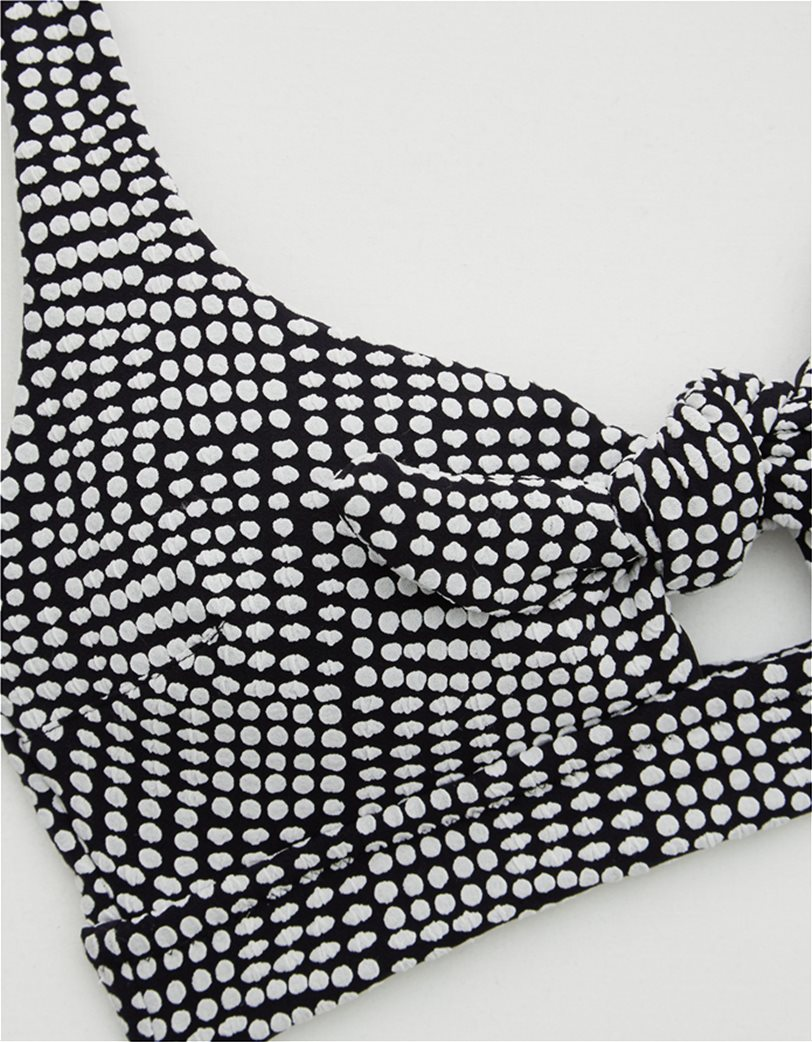 Aerie Jacquard Tie Banded Wide Strap Scoop Bikini Top Μαύρο 2
