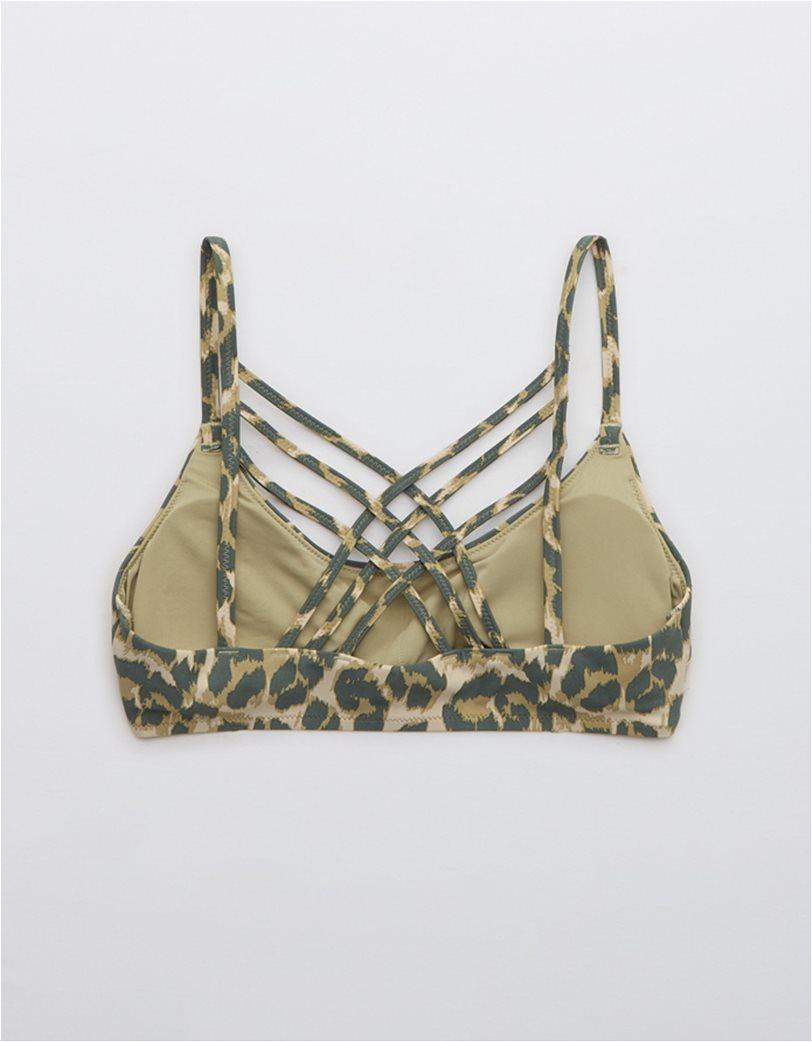 Aerie Leopard Strappy Scoop Bikini Top Χακί 4