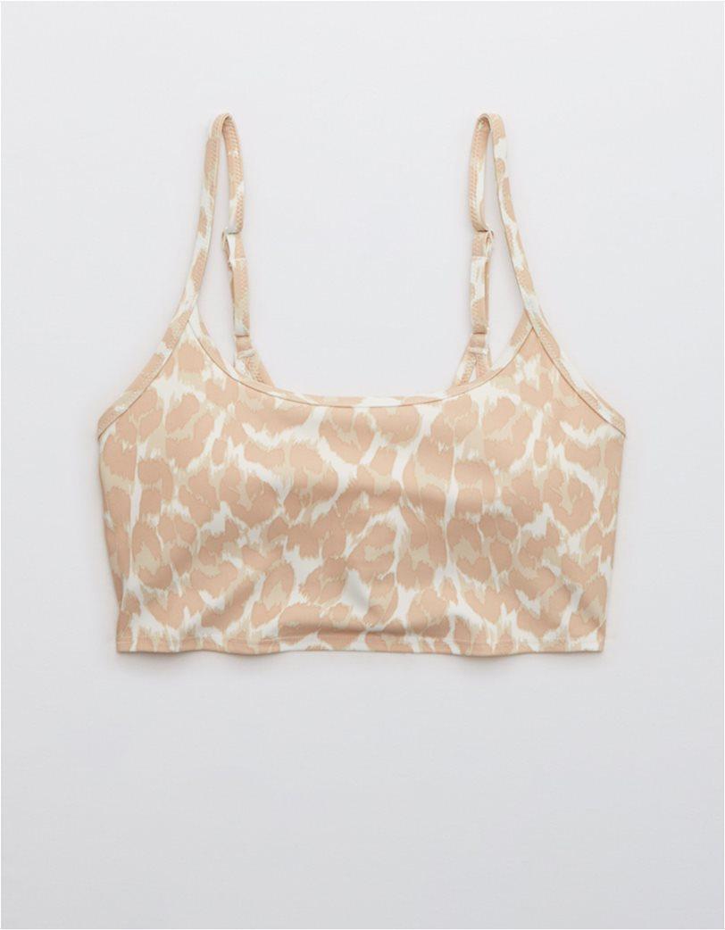 Aerie Leopard Longline Scoop Bikini Top Μπεζ 3