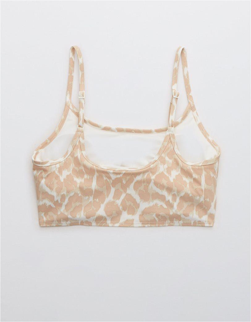 Aerie Leopard Longline Scoop Bikini Top Μπεζ 4
