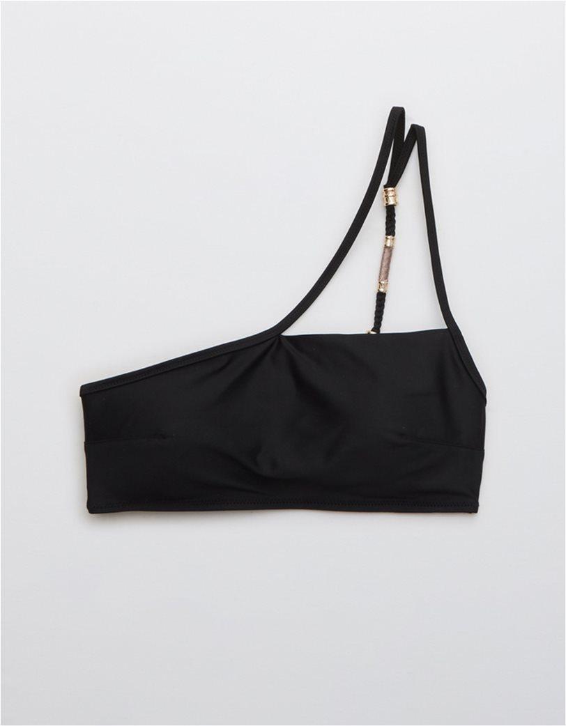 Aerie One Shoulder Bikini Top Μαύρο 3