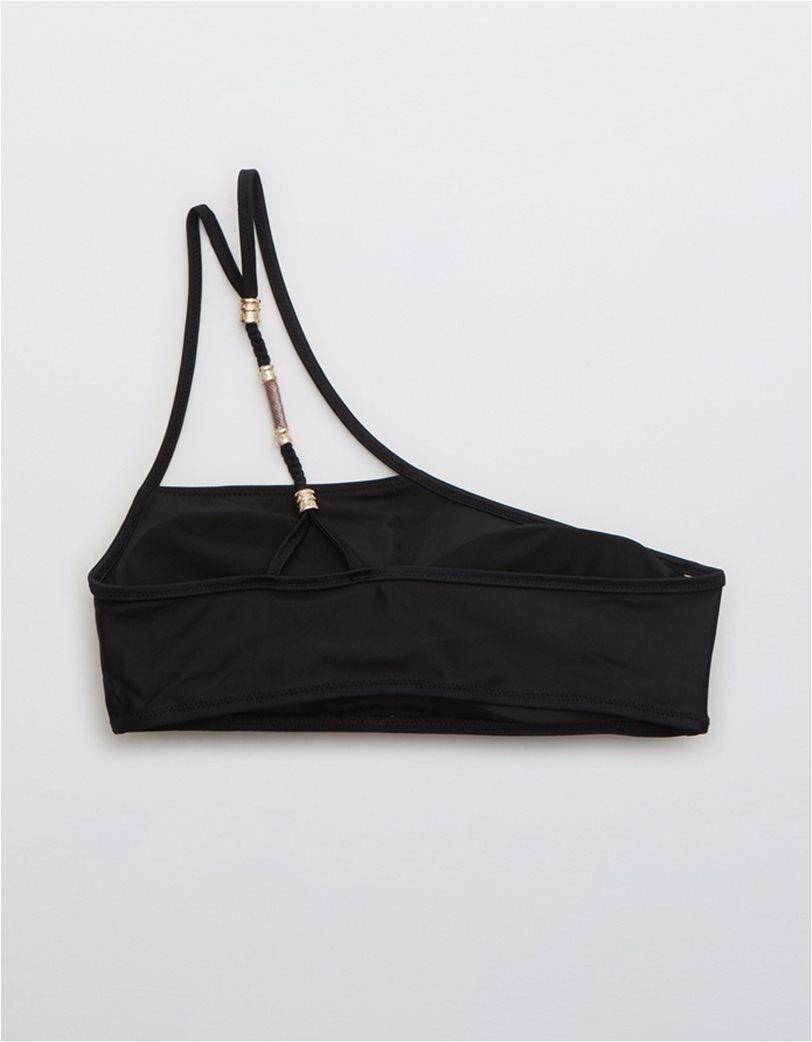Aerie One Shoulder Bikini Top Μαύρο 4