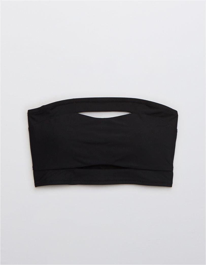 Aerie Split Longline Bandeau Bikini Top Μαύρο 3