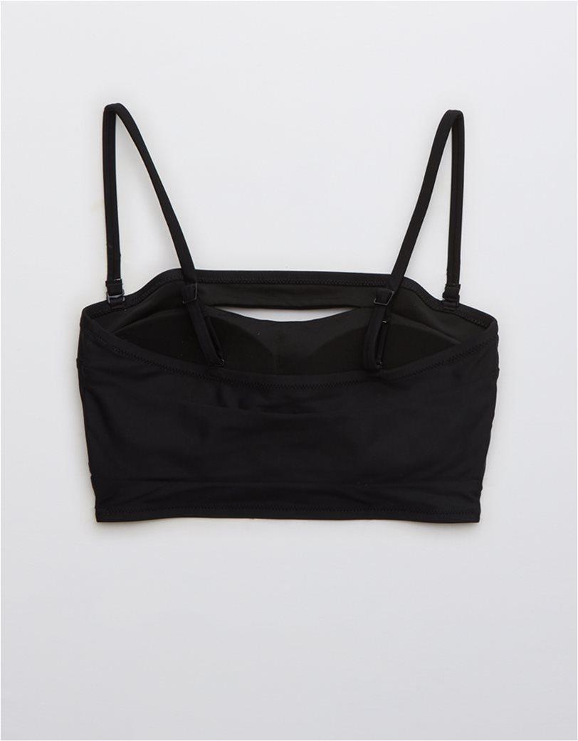 Aerie Split Longline Bandeau Bikini Top Μαύρο 4