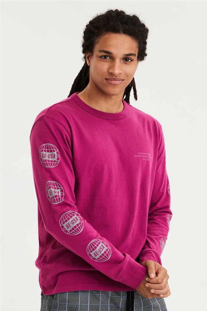 AE Super Soft Long Sleeve Reflective Graphic T-Shirt Φούξια 0