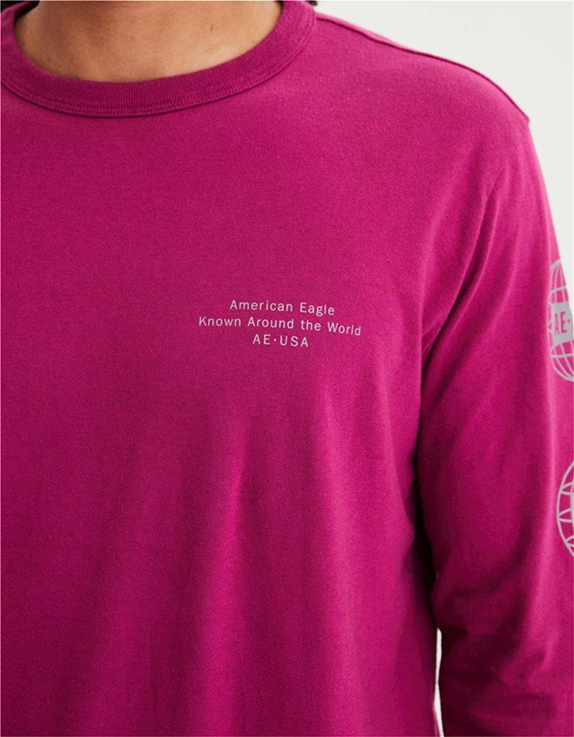 AE Super Soft Long Sleeve Reflective Graphic T-Shirt Φούξια 2