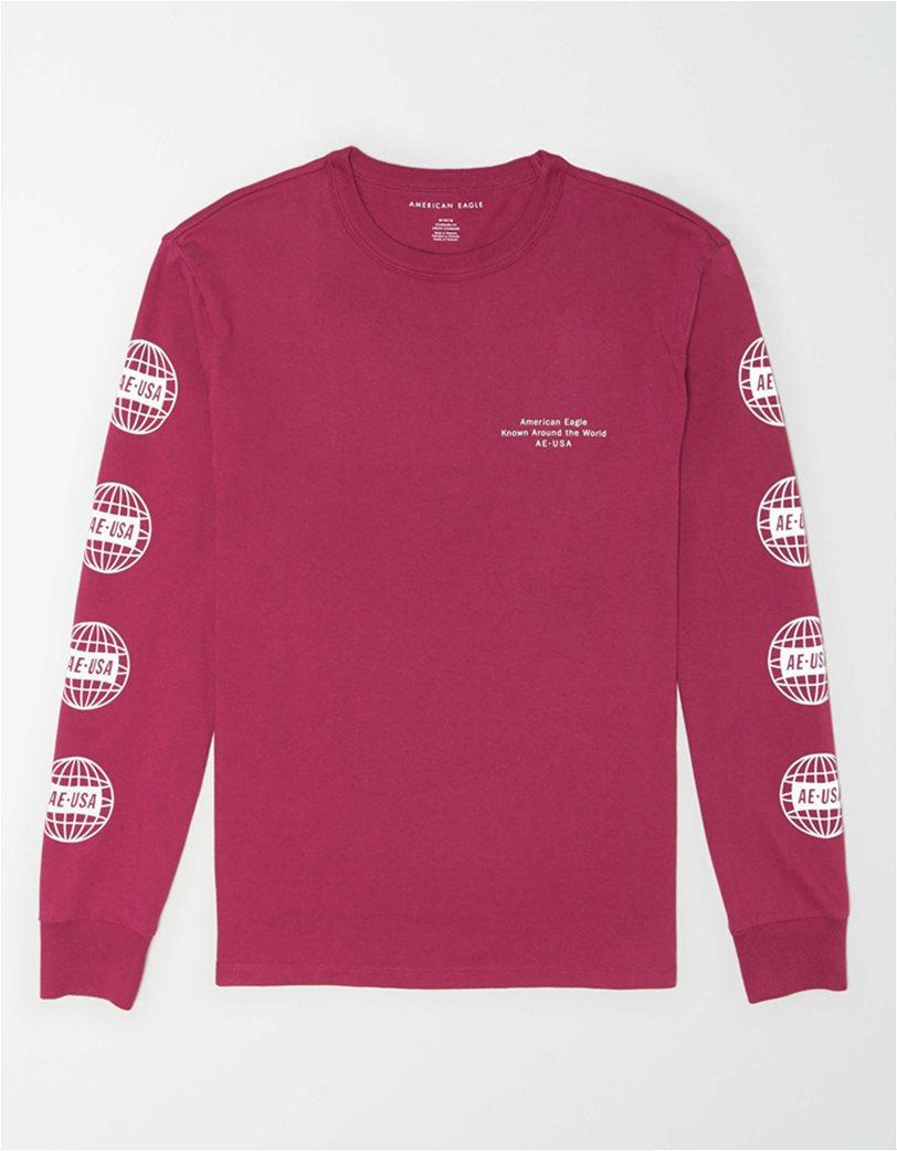 AE Super Soft Long Sleeve Reflective Graphic T-Shirt Φούξια 3