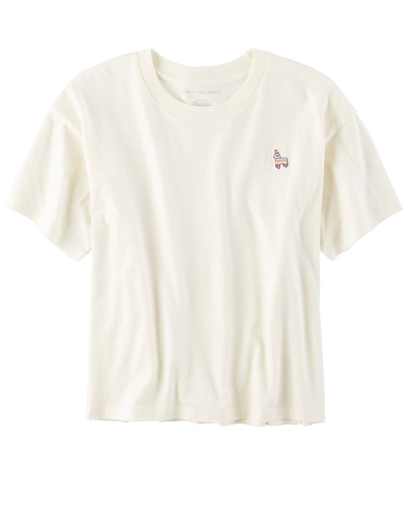 AE Embroidered Graphic T-Shirt Λευκό 3