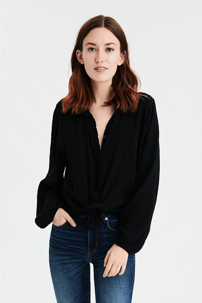 AE Tie Front Cropped Button Up Shirt Μαύρο 0