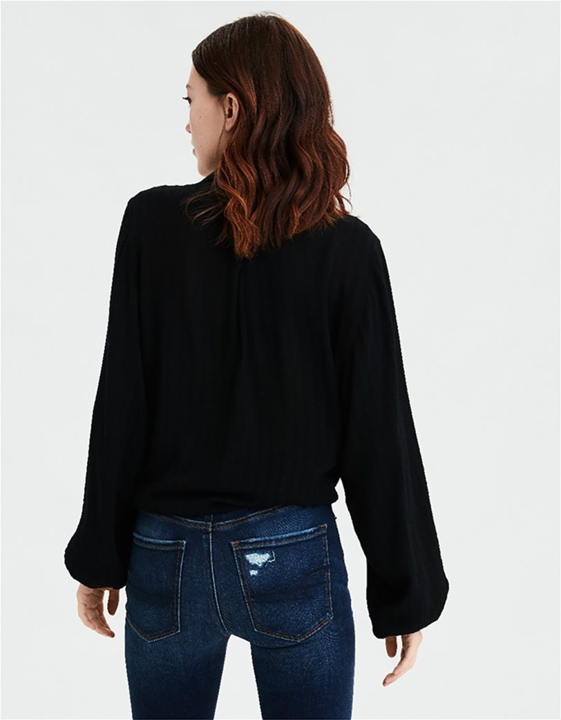 AE Tie Front Cropped Button Up Shirt Μαύρο 1