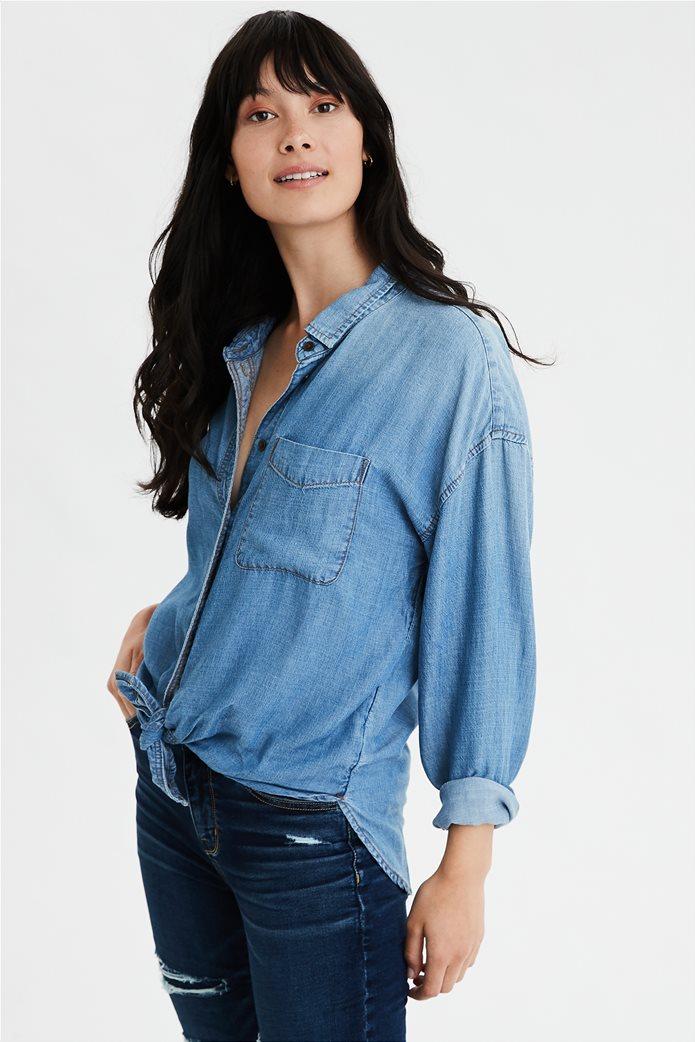 AE Oversized Denim Button Up Shirt Μπλε Σκούρο 0