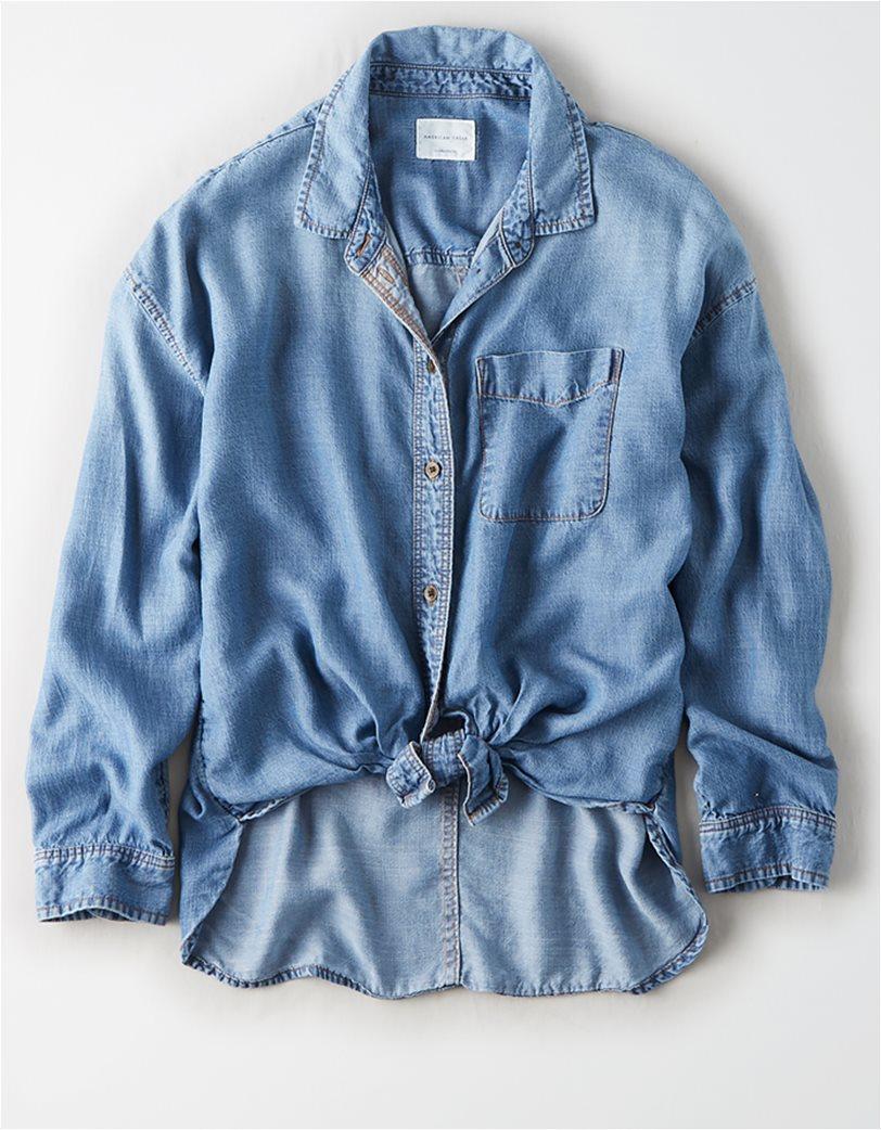 AE Oversized Denim Button Up Shirt Μπλε Σκούρο 2