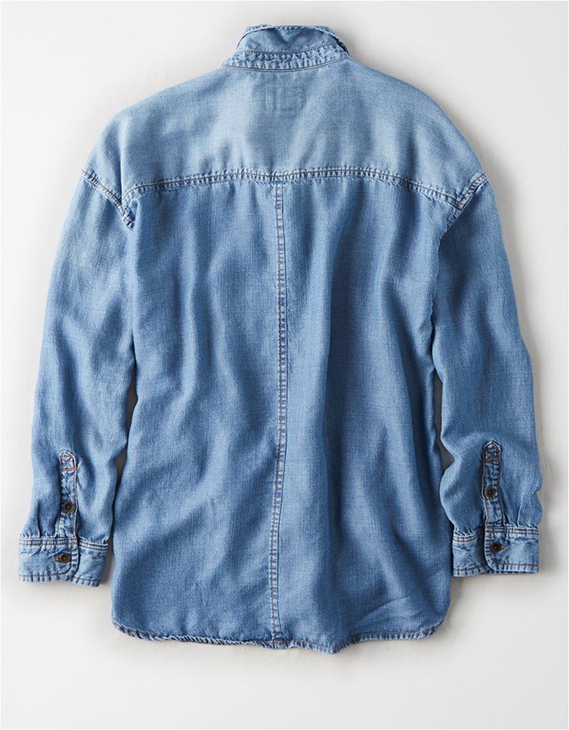 AE Oversized Denim Button Up Shirt Μπλε Σκούρο 3