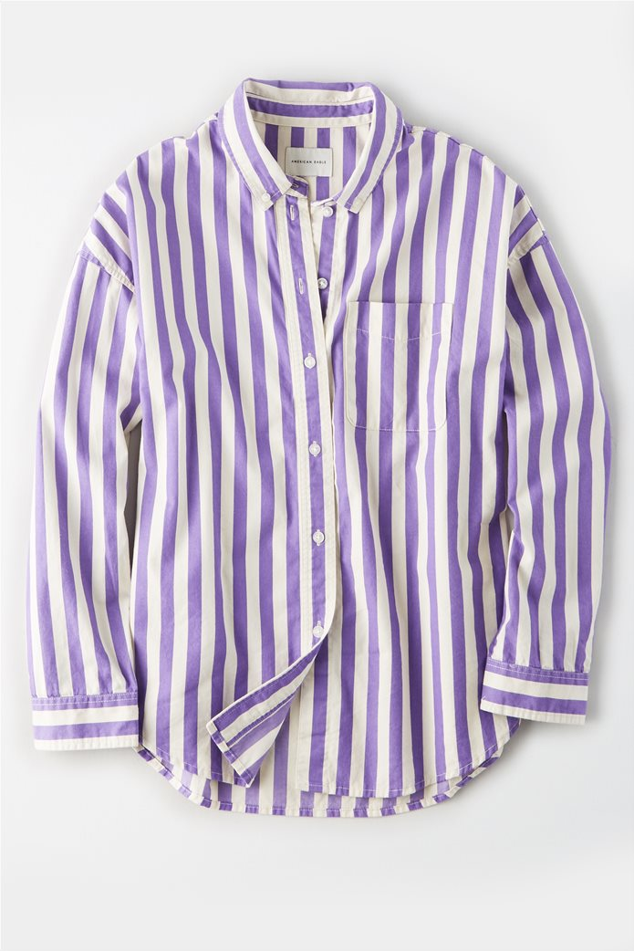 AE Oversized Striped Button Up Shirt Λιλά 0
