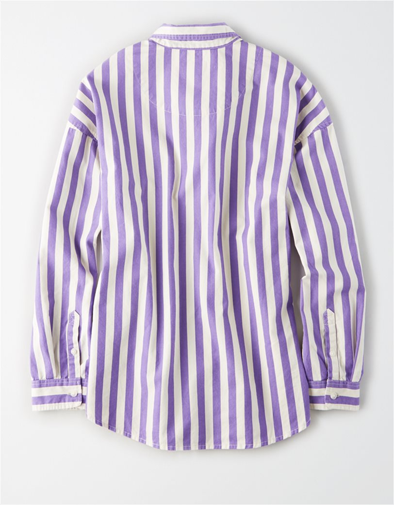 AE Oversized Striped Button Up Shirt Λιλά 1