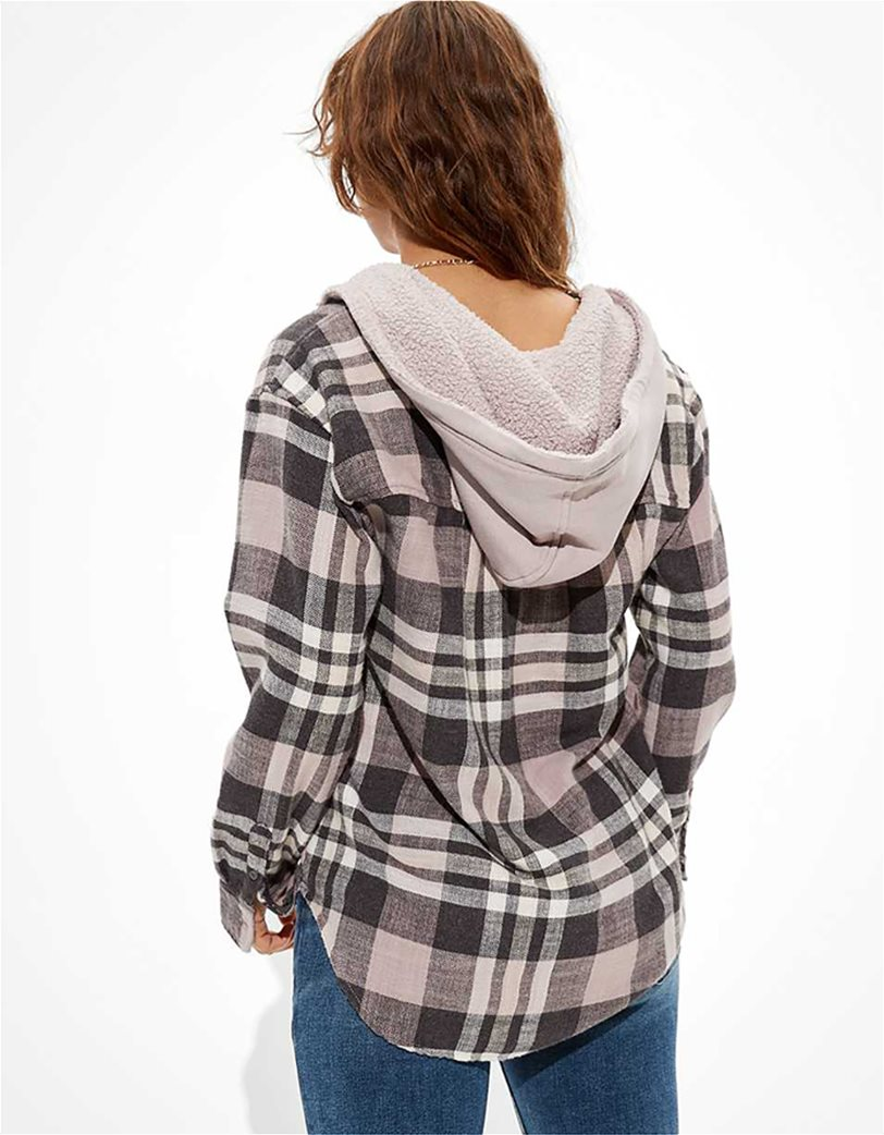 AE Plaid Flannel Hooded Button Up Shirt 1
