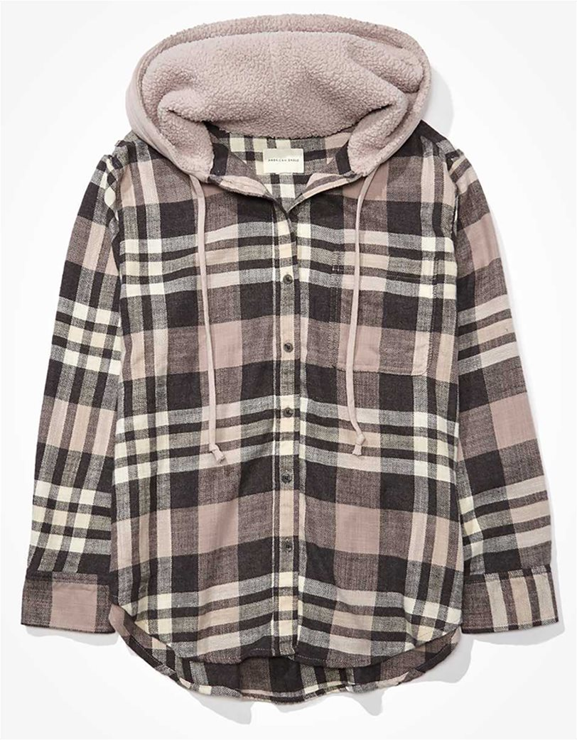 AE Plaid Flannel Hooded Button Up Shirt 2