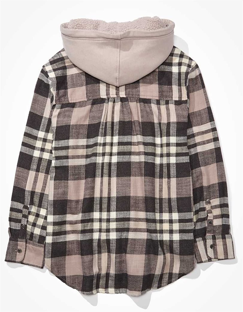 AE Plaid Flannel Hooded Button Up Shirt 3