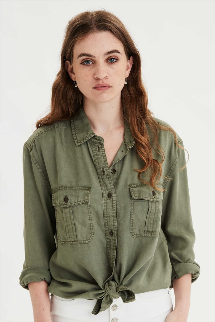 AE Oversized Military Button Up Shirt Χακί 0