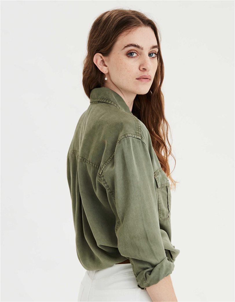 AE Oversized Military Button Up Shirt Χακί 1