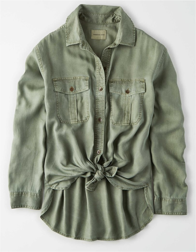 AE Oversized Military Button Up Shirt Χακί 2