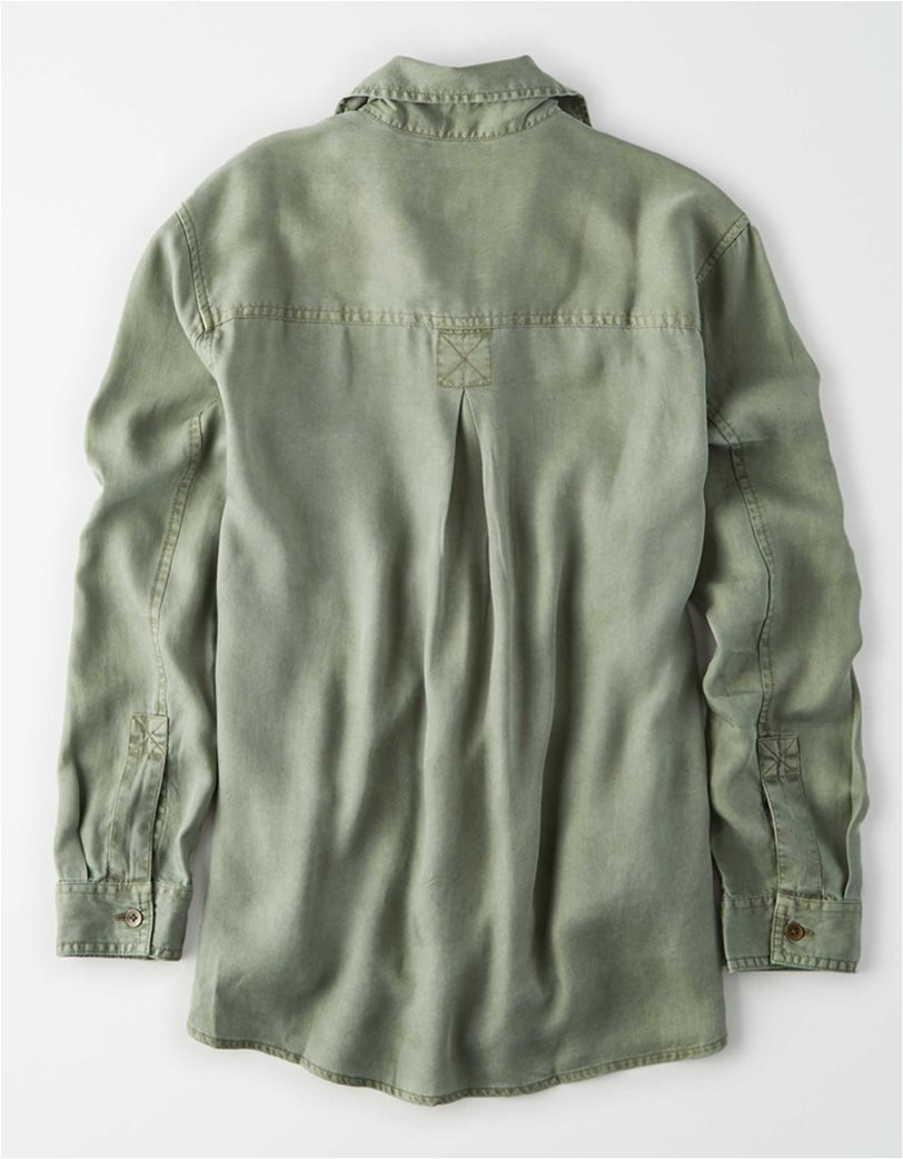 AE Oversized Military Button Up Shirt Χακί 3