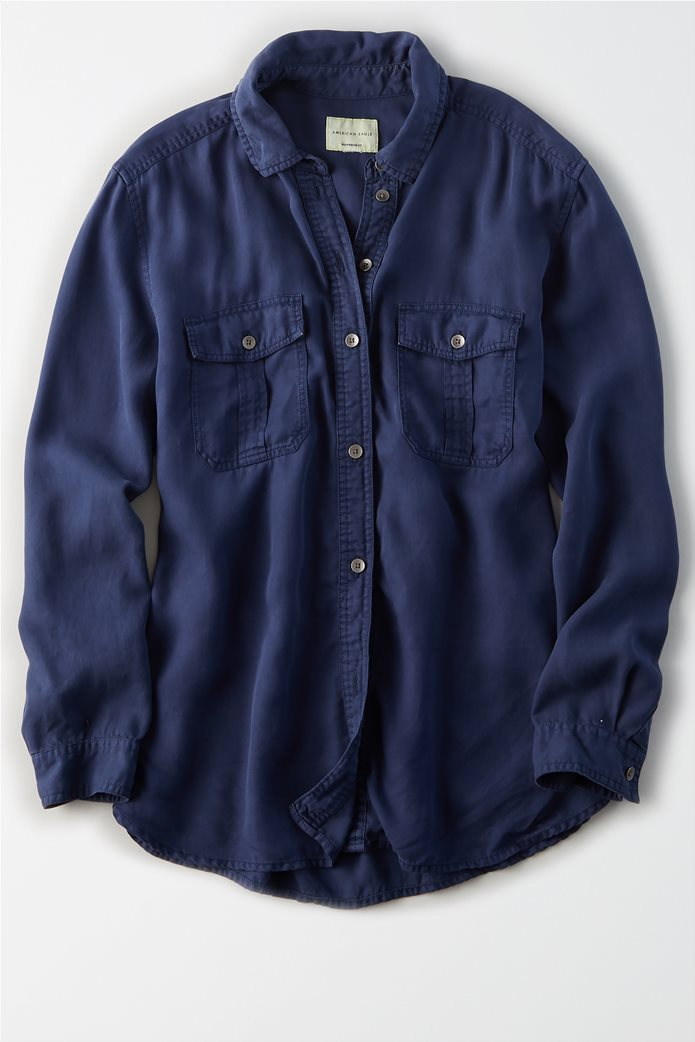 AE Oversized Military Button Up Shirt Μπλε Σκούρο 0