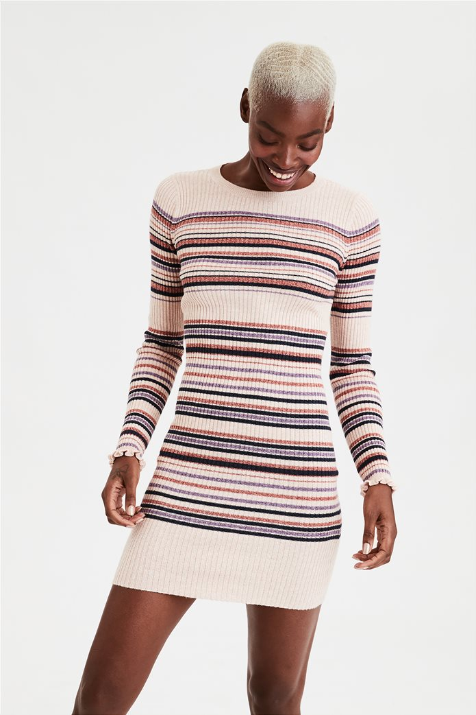 AE Striped Crew Neck Sweater Dress 0