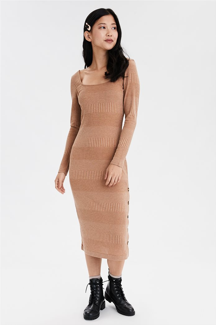 AE Knit Button Front Midi Dress 0