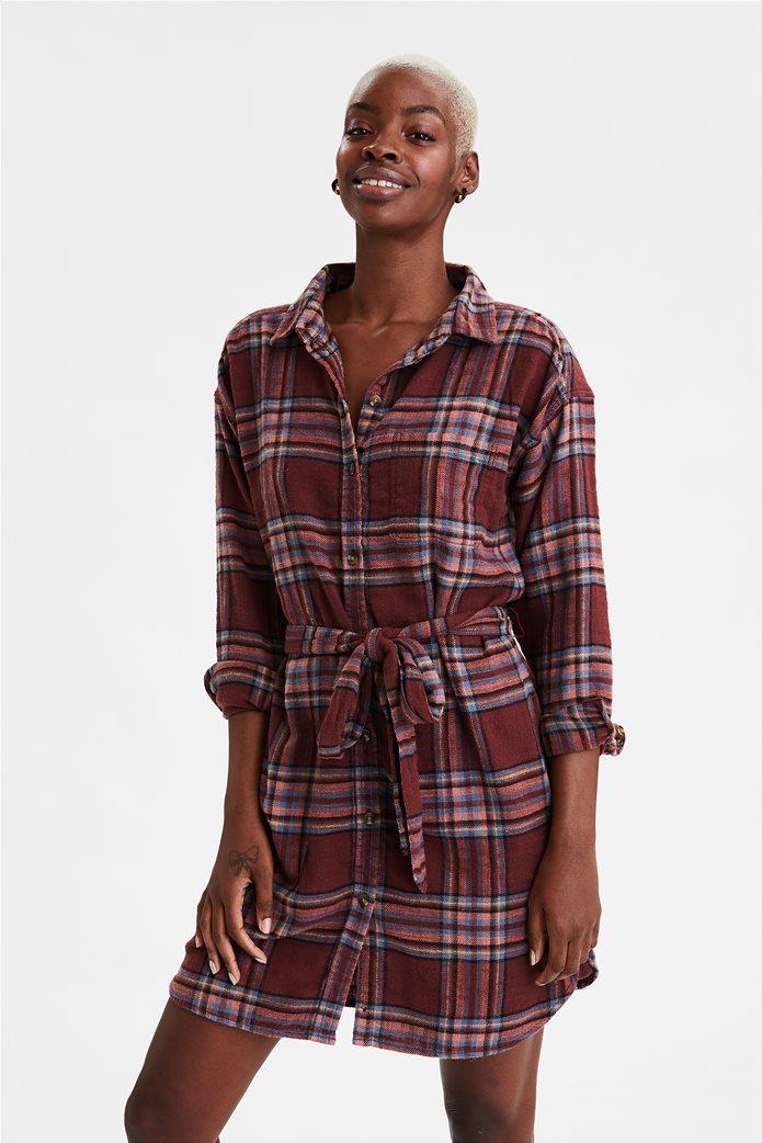 AE Plaid Long Sleeve Shirt Dress 0