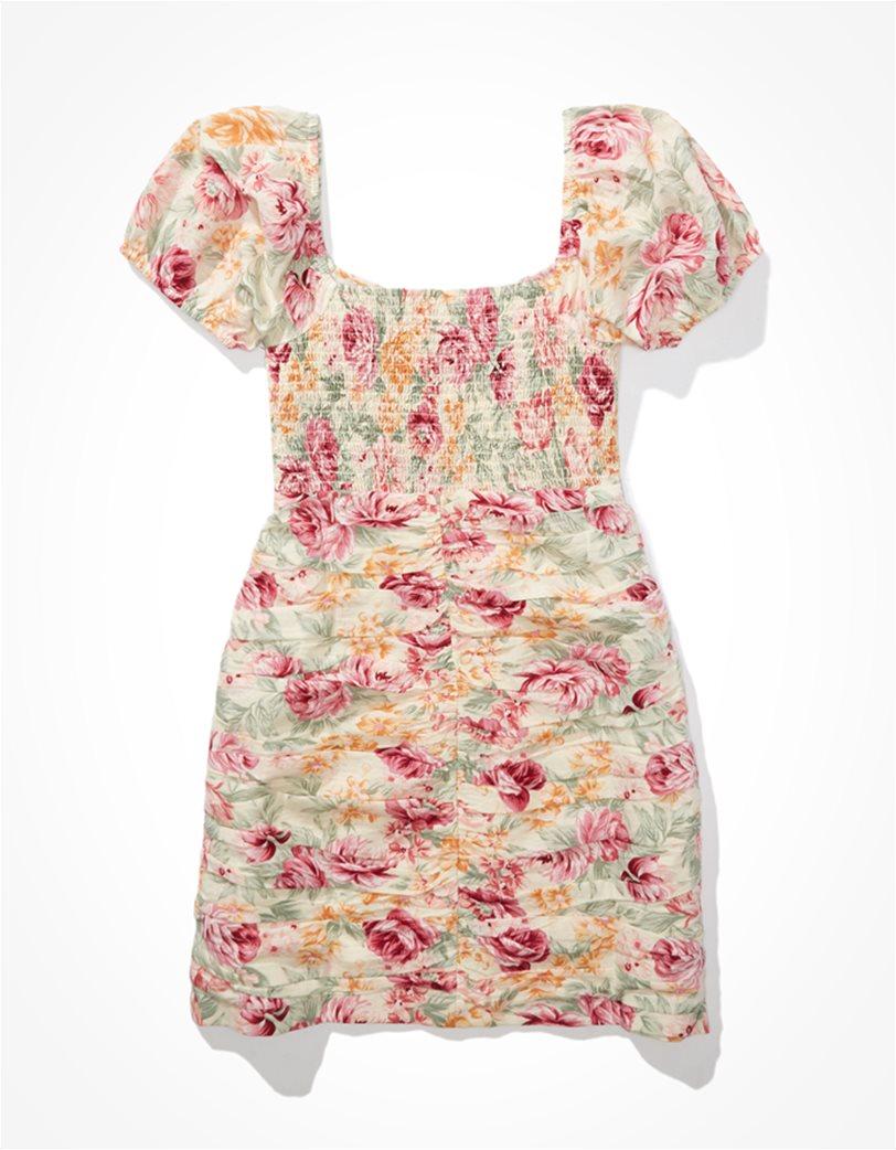 AE Floral Ruched Mini Dress Κρέμ 3