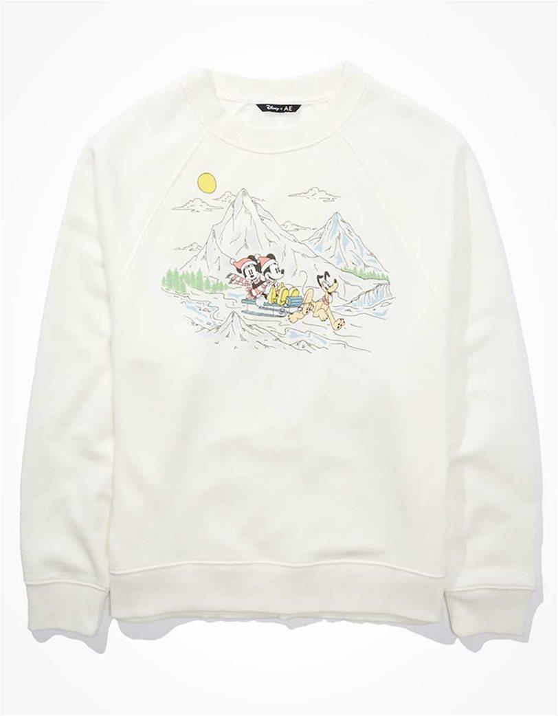 Disney X AE Fleece Crew Neck Sweatshirt Άσπρο 3