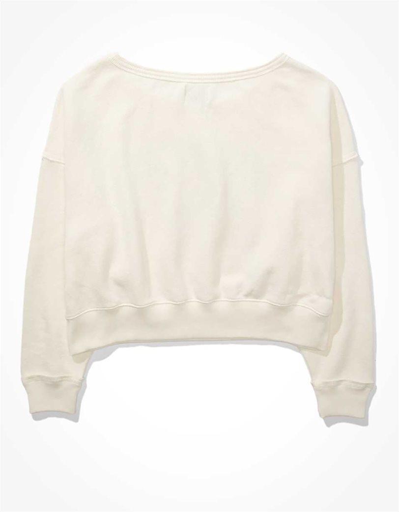 AE Forever Slouchy Cropped Crew Neck Sweatshirt Εκρού 3
