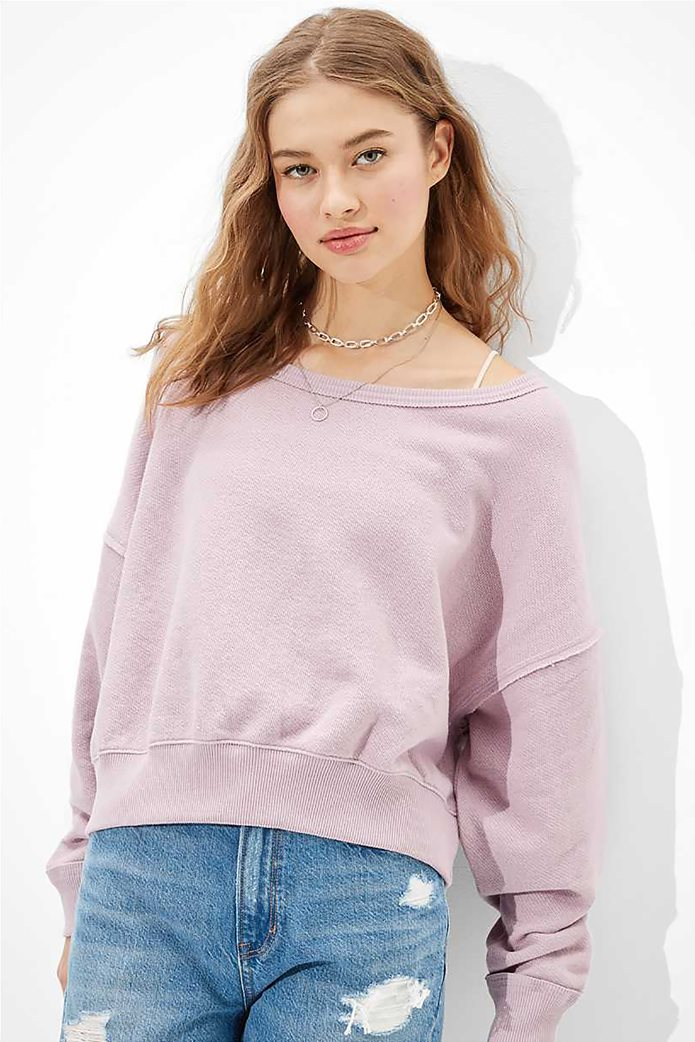 AE Forever Slouchy Cropped Crew Neck Sweatshirt 0