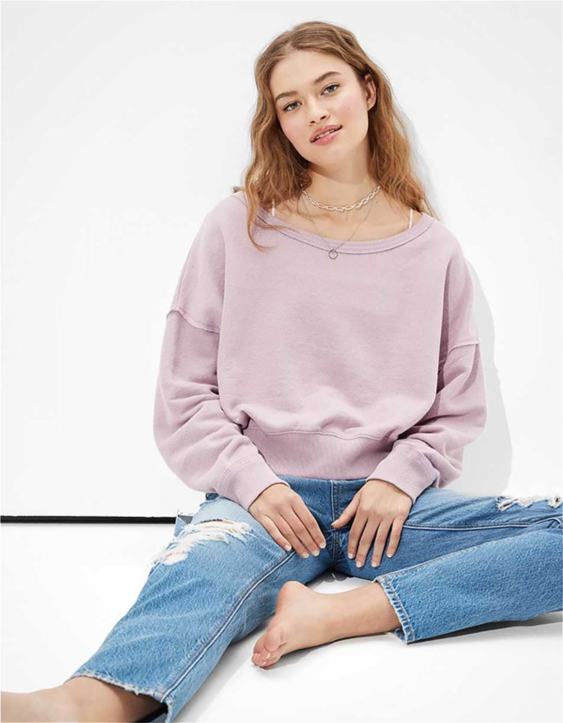 AE Forever Slouchy Cropped Crew Neck Sweatshirt 1