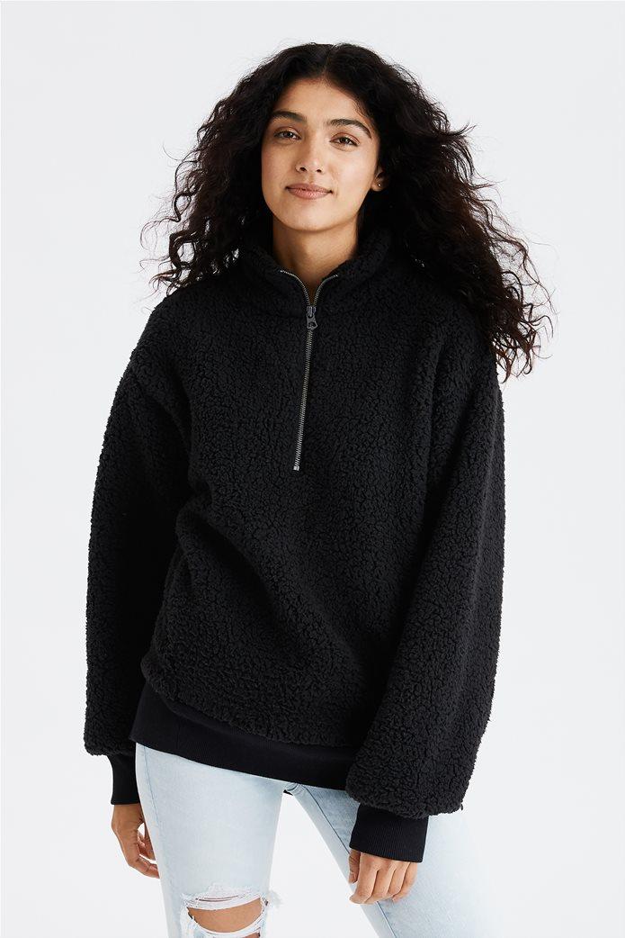 AE Fuzzy Sherpa Quarter Zip Sweatshirt 0