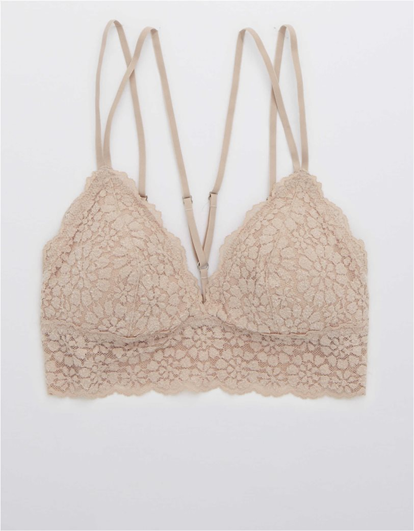 Aerie Sugar Cookie Lace Padded Strappy Bralette Nude 2