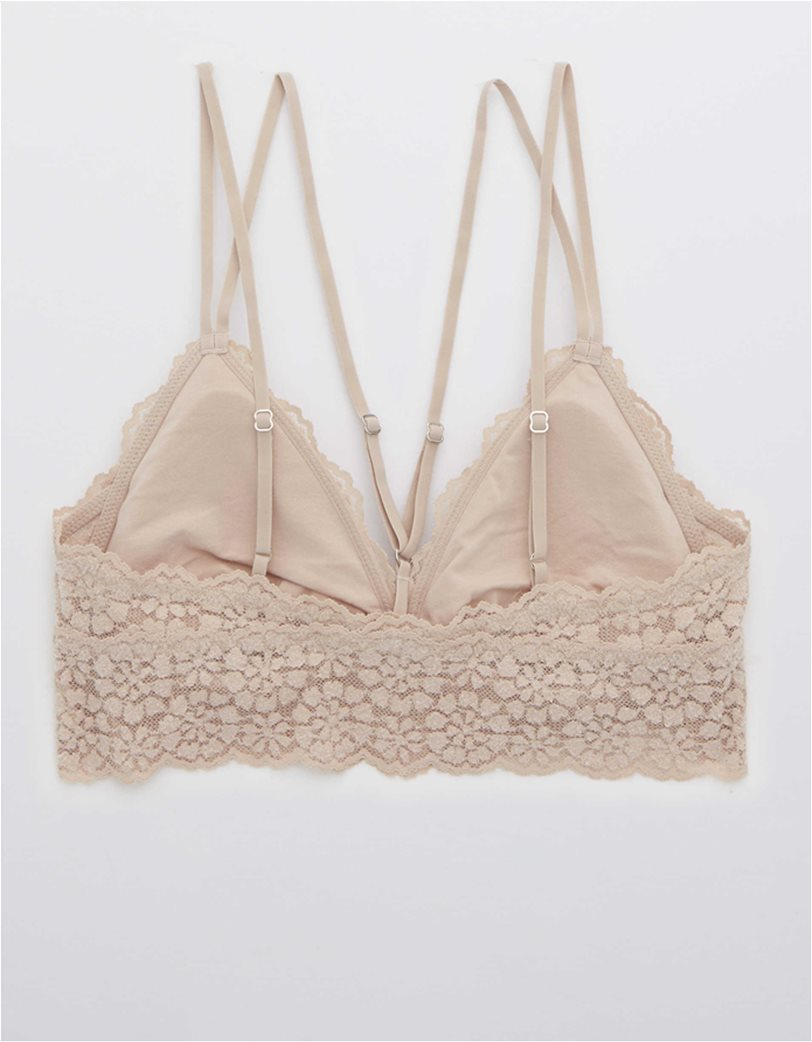 Aerie Sugar Cookie Lace Padded Strappy Bralette Nude 3