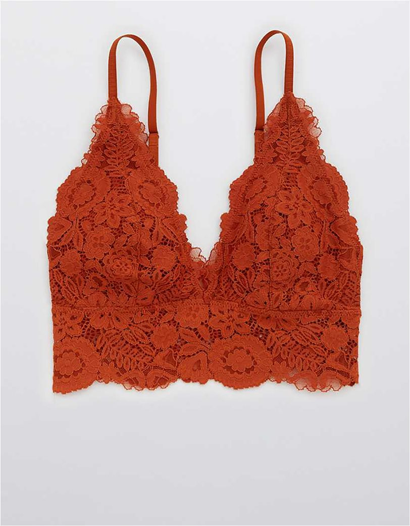 Aerie Bluegrass Lace Padded Plunge Bralette Κεραμιδί 2