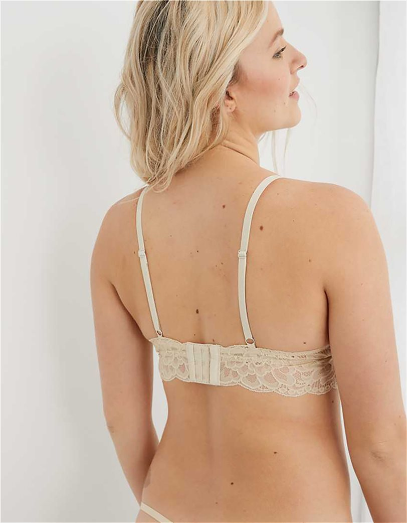 Aerie New Blooms Lace Padded Triangle Bralette Μπεζ 2