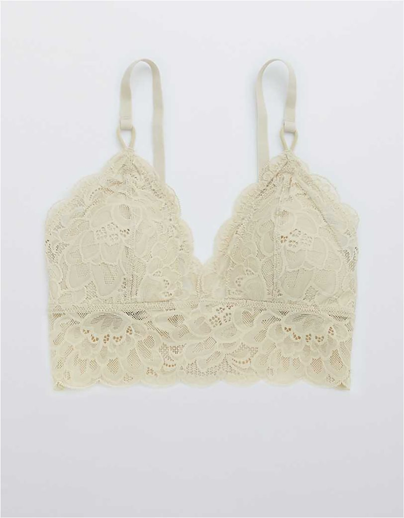 Aerie New Blooms Lace Padded Triangle Bralette Μπεζ 3