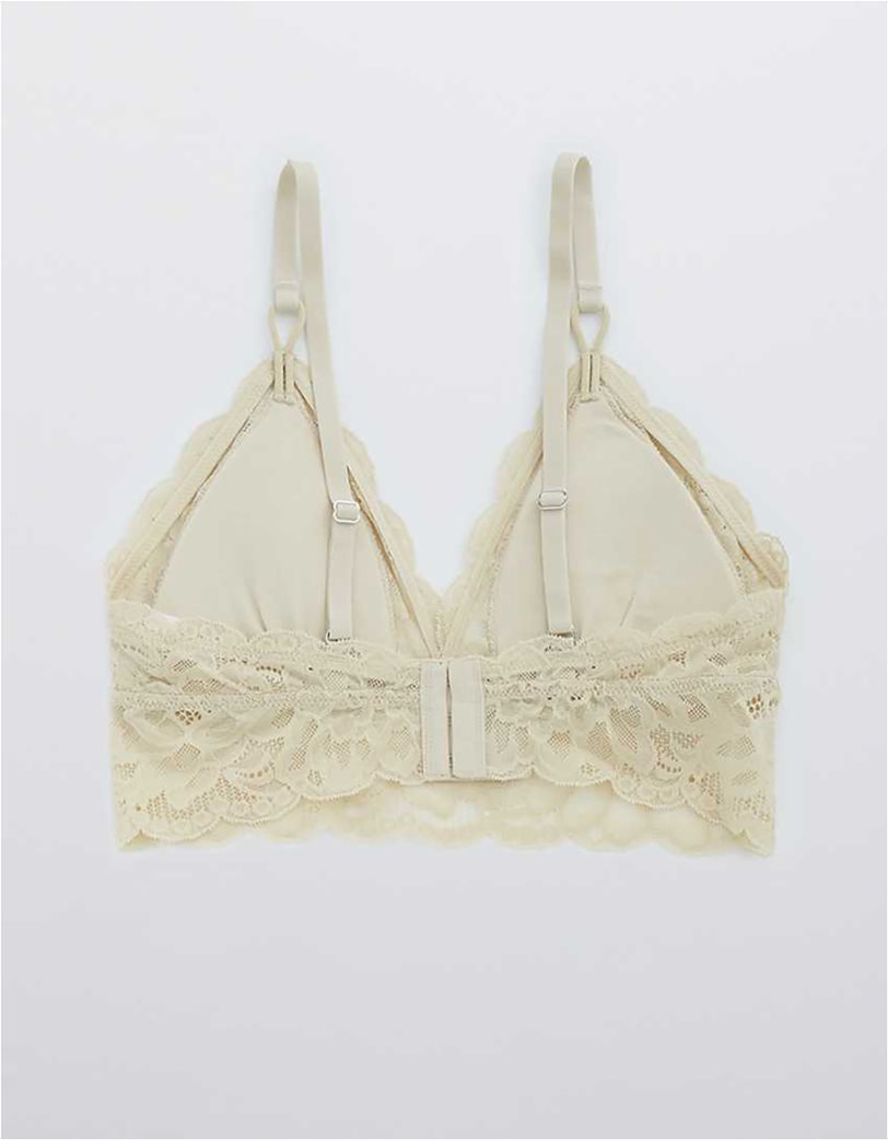 Aerie New Blooms Lace Padded Triangle Bralette Μπεζ 4