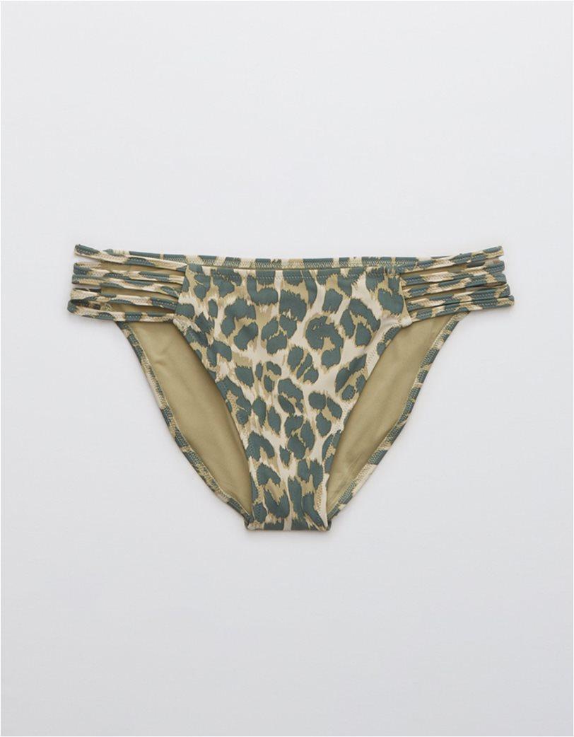 Aerie Leopard Strappy Bikini Bottom Χακί 3