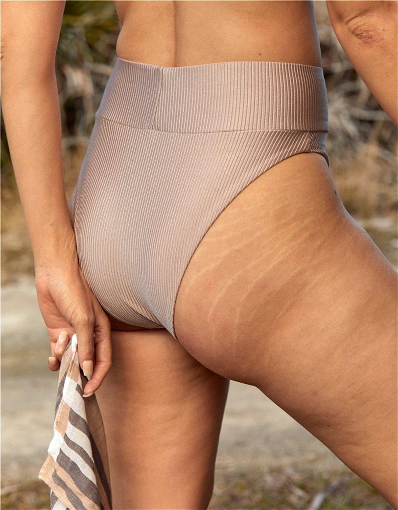 Aerie Ribbed Shine High Cut Cheeky Bikini Bottom Μπεζ 1