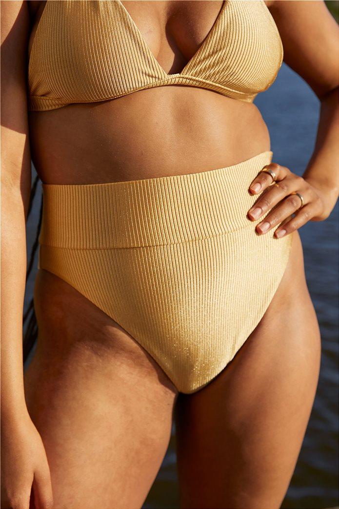 Aerie Ribbed Shine High Cut Cheeky Bikini Bottom Μουσταρδί 0